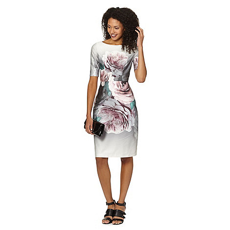 Betty Jackson.Black - Designer grey bloom floral dress