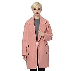 Betty Jackson.Black - Designer light pink oversized wool blend coat