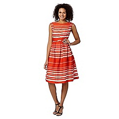 Betty Jackson.Black - Designer coral striped lace dress