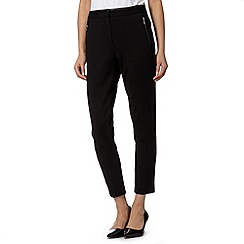 Betty Jackson.Black - Designer black PU trim trousers