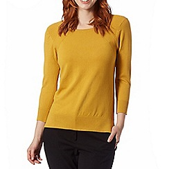 Betty Jackson.Black - Designer mustard stitched shoulder jumper