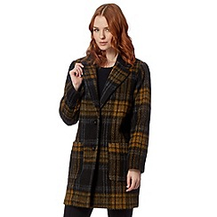 Betty Jackson.Black - Designer dark yellow checked coat