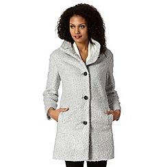 Betty Jackson.Black - Designer silver boucle coat