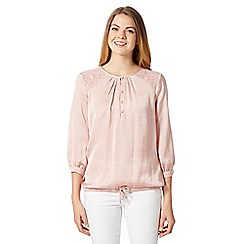 Betty Jackson.Black - Designer light pink lace and satin gypsy top