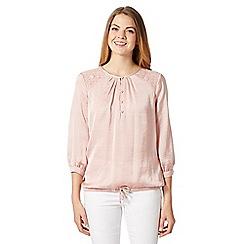 Betty Jackson.Black - Designer light pink lace and satin gypsy top
