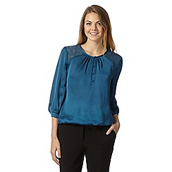 Betty Jackson.Black - Designer turquoise lace and satin gypsy top