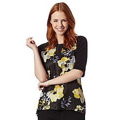Betty Jackson.Black - Designer black floral t-shirt