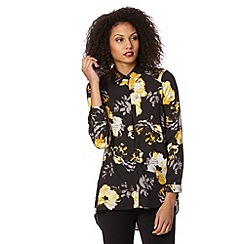Betty Jackson.Black - Designer black floral shirt