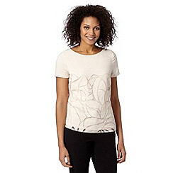 Betty Jackson.Black - Designer light cream burnout leaf top