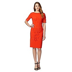 Betty Jackson.Black - Designer bright orange burnout leaf dress