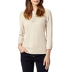 Betty Jackson.Black - Designer light cream pointelle knit jumper