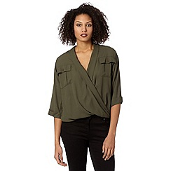Betty Jackson.Black - Designer khaki military wrap shirt