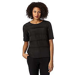 Betty Jackson.Black - Designer black tiered pintuck top
