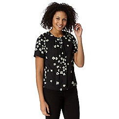 Betty Jackson.Black - Designer black ditsy floral pleat top