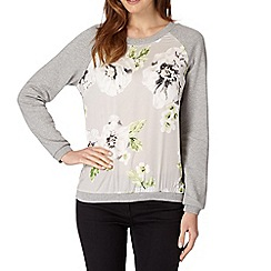 Betty Jackson.Black - Designer silver floral panel sweatshirt