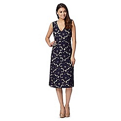 Betty Jackson.Black - Designer navy lace overlay dress