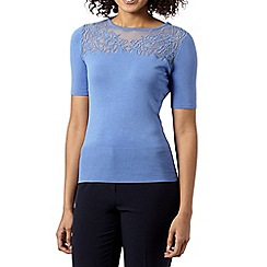 Betty Jackson.Black - Designer pale blue lace yoke jumper