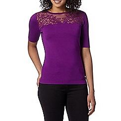 Betty Jackson.Black - Designer bright purple lace yoke jumper