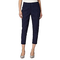 Betty Jackson.Black - Designer navy jacquard cropped slim leg trousers