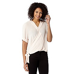 Betty Jackson.Black - Designer light cream tie front shirt