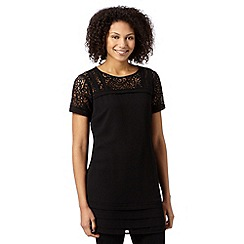 Betty Jackson.Black - Designer black lace insert tunic
