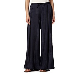 Betty Jackson.Black - Designer navy hammered satin palazzo trousers