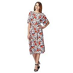 Betty Jackson.Black - Designer red floral kimono dress