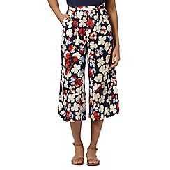 Betty Jackson.Black - Designer navy culotte flower trousers