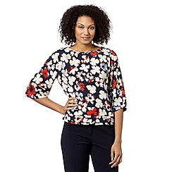 Betty Jackson.Black - Designer navy cutout flower top