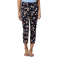 Betty Jackson.Black - Designer navy floral cropped trousers