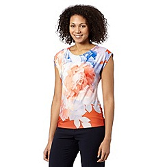 Betty Jackson.Black - Designer coral floral ombre jersey top