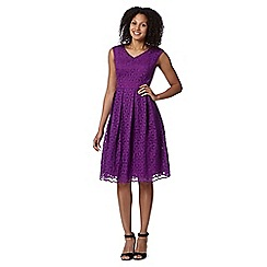 Betty Jackson.Black - Designer bright purple embroidered floral dress