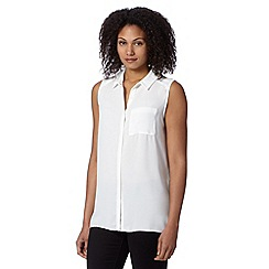 Betty Jackson.Black - Designer ivory sleeveless pleat back shirt