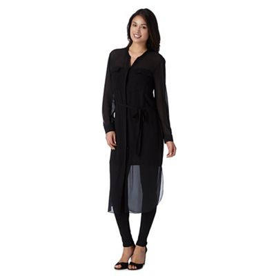 Betty Jackson.Black Designer black maxi shirt dress