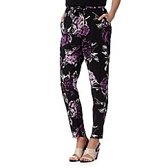 Betty Jackson.Black - Designer black rose print trousers