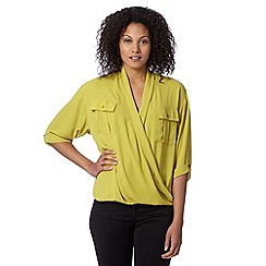 Betty Jackson.Black - Designer lime wrap front utility shirt