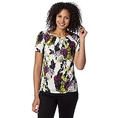 Betty Jackson.Black - Designer ivory clustered rose shell top