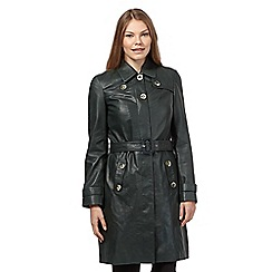 Betty Jackson.Black - Dark green leather trench coat