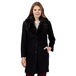 Betty Jackson.Black - Black faux fur boucle coat