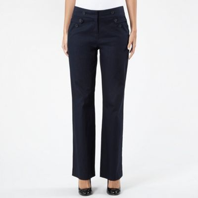 Navy Button Waist Trousers