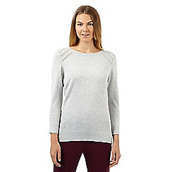 Betty Jackson.Black - Designer pale grey pointelle jumper
