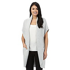 Betty Jackson.Black - Designer light grey wool blend sleeveless knitted cardigan