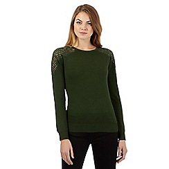 Betty Jackson.Black - Dark green lace shoulder jumper