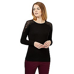 Betty Jackson.Black - Black lace shoulder jumper