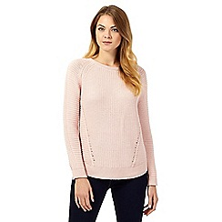Betty Jackson.Black - Light pink chunky knit jumper