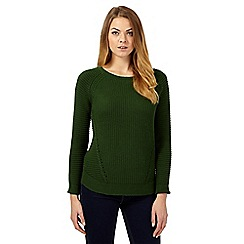 Betty Jackson.Black - Dark green chunky knit jumper