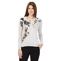 Betty Jackson.Black - Grey floral jumper