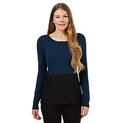 Betty Jackson.Black - Navy floral lace jumper