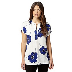 Betty Jackson.Black - Designer royal blue poppy print blouse