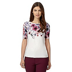 Betty Jackson.Black - Designer ivory floral print top